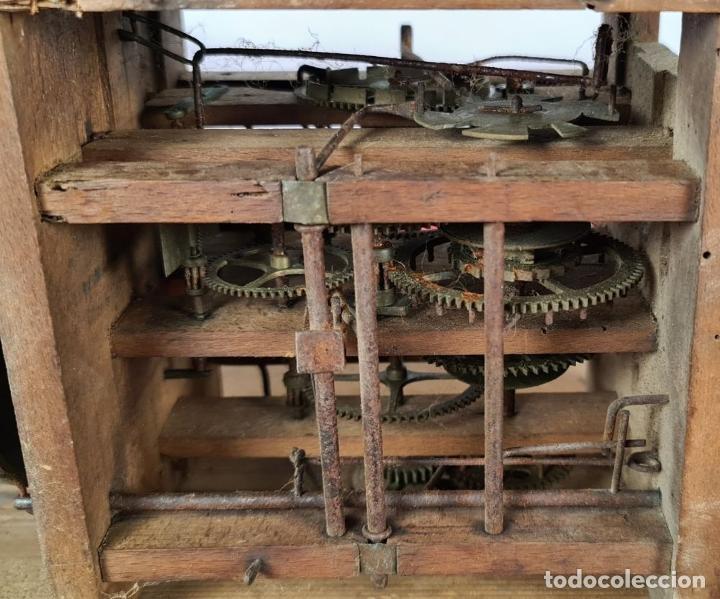 Relojes de pared: RELOJ DE PARED. RATERA. FRONTAL DE MADERA. SELVA NEGRA. ALEMANIA. SIGLO XIX. - Foto 12 - 251807440
