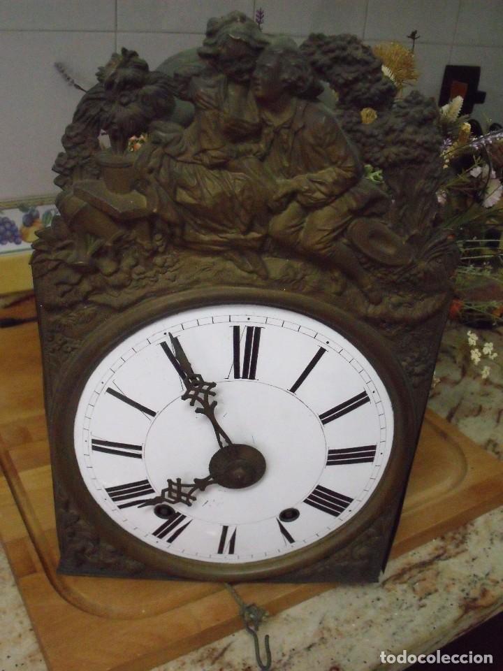 ANTIQUISIMA MAQUINARIA MOREZ PESAS-AÑO 1860-FUNCION DESPERTADOR-2 MARTILLOS-FUNCIONA-LOTE 334 (Relojes - Pared Carga Manual)