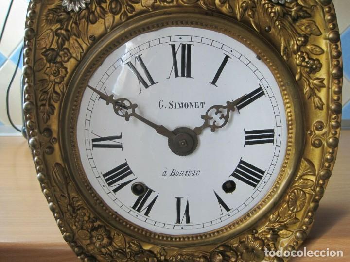 Relojes de pared: antigua maquinaria MOREZ de PESAS - año 1870- COMPLETA Y FUNCIONAL- LOTE 258-MUY BUEN ESTADO - Foto 3 - 262307445