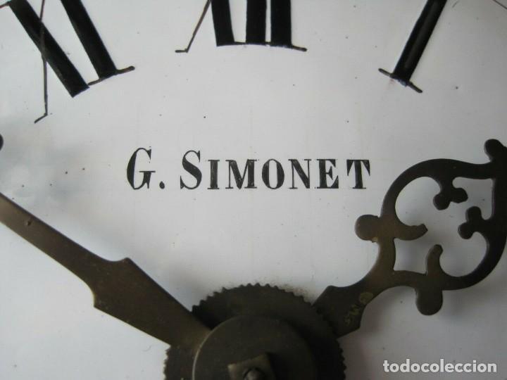 Relojes de pared: antigua maquinaria MOREZ de PESAS - año 1870- COMPLETA Y FUNCIONAL- LOTE 258-MUY BUEN ESTADO - Foto 7 - 262307445