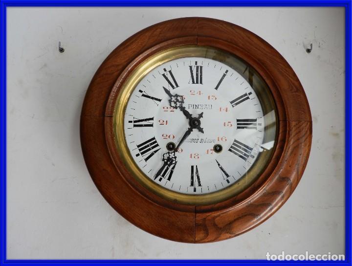 RELOJ DE PARED REDONDO DE MADERA DE ROBLE SIN SONERIA (Relojes - Pared Carga Manual)