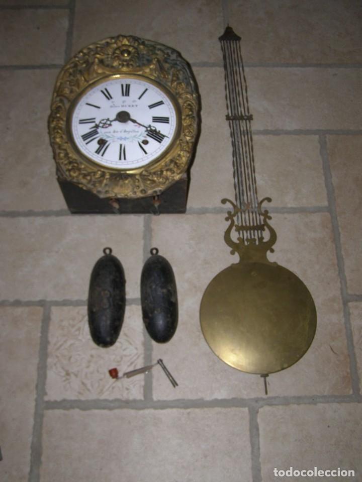ANCIEN MOUVEMENT DE COMTOISE + BALANCIER LYRE D 24CM + 2 POIDS + CLÉ (Relojes - Pared Carga Manual)