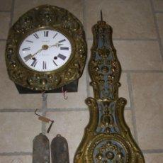 Relojes de pared: ANCIEN MOUVEMENT DE COMTOISE + BALANCIER + 2 POIDS + CLÉ. Lote 270098803