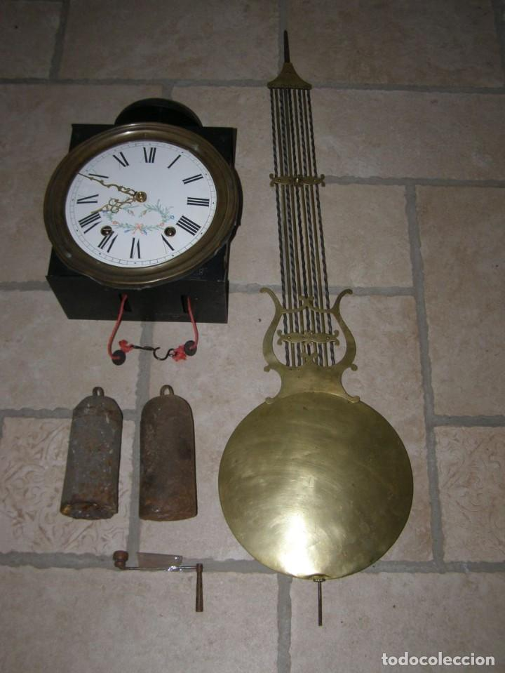 ANCIEN MOUVEMENT DE COMTOISE + BALANCIER LYRE D 27CM + 2 POIDS + CLÉ (Relojes - Pared Carga Manual)