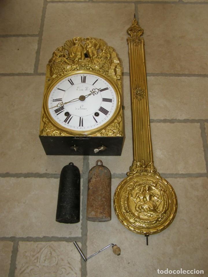 ANCIEN MOUVEMENT DE COMTOISE + BALANCIER + 2 POIDS + CLÉ (Relojes - Pared Carga Manual)