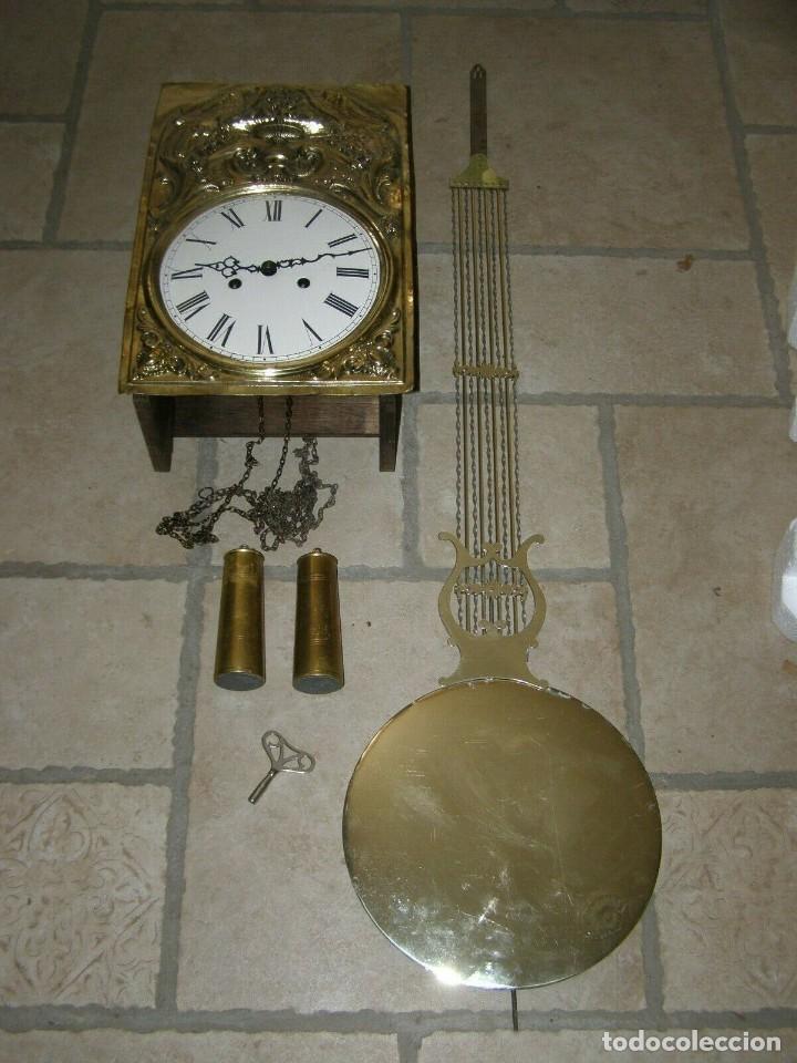 ANCIEN MOUVEMENT DE COMTOISE + BALANCIER LYRE DIAMÈTRE 28CM + 2 POIDS + CLÉ (Relojes - Pared Carga Manual)