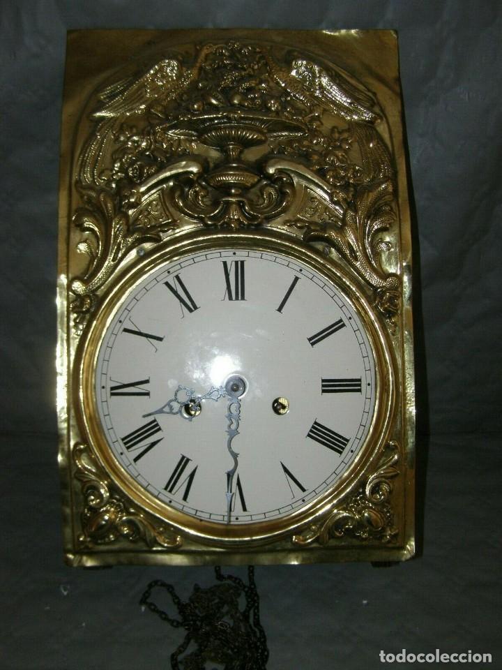 Relojes de pared: Ancien mouvement de comtoise + balancier lyre diamètre 28cm + 2 poids + clé - Foto 2 - 270101628