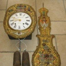 Relojes de pared: ANCIEN MOUVEMENT DE COMTOISE + BALANCIER + CLÉ + 2 POIDS. Lote 270101828