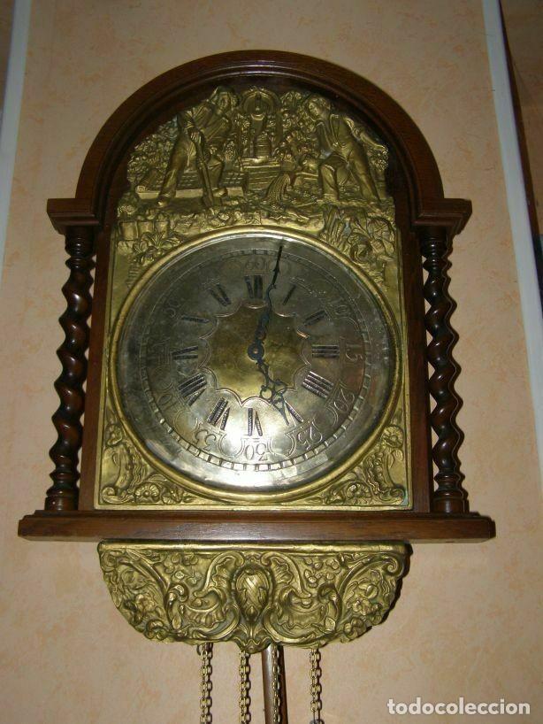 Relojes de pared: Ancien mouvement de comtoise (XIXè) avec balancier et 2 poids - Foto 2 - 270102313