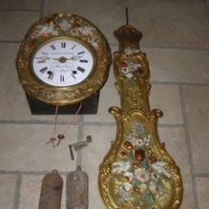 Relojes de pared: ANCIEN MOUVEMENT DE COMTOISE + BALANCIER + 2 POIDS + CLÉ. Lote 270102523