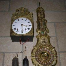 Relojes de pared: ANCIEN MOUVEMENT DE COMTOISE + BALANCIER + 2 POIDS + CLÉ. Lote 270102823