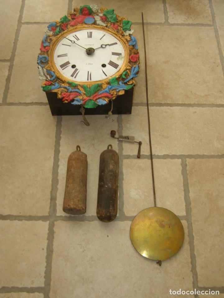 ANCIEN MOUVEMENT DE COMTOISE + BALANCIER LENTILLE D 16CM + CLÉ + 2 POIDS (Relojes - Pared Carga Manual)