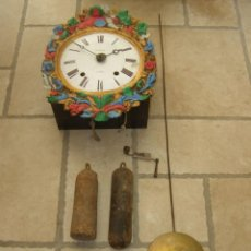 Relojes de pared: ANCIEN MOUVEMENT DE COMTOISE + BALANCIER LENTILLE D 16CM + CLÉ + 2 POIDS. Lote 270103933