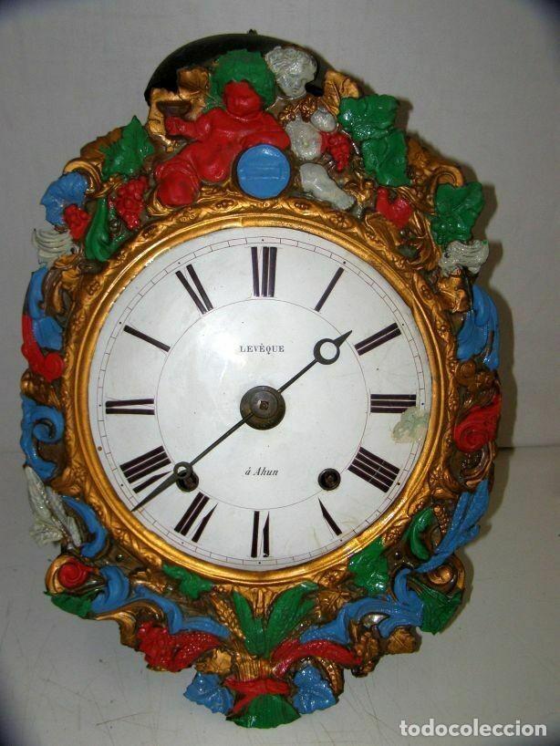 Relojes de pared: Ancien mouvement de comtoise + balancier lentille D 16cm + clé + 2 poids - Foto 2 - 270103933