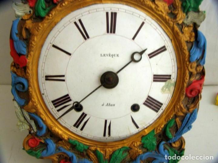 Relojes de pared: Ancien mouvement de comtoise + balancier lentille D 16cm + clé + 2 poids - Foto 3 - 270103933