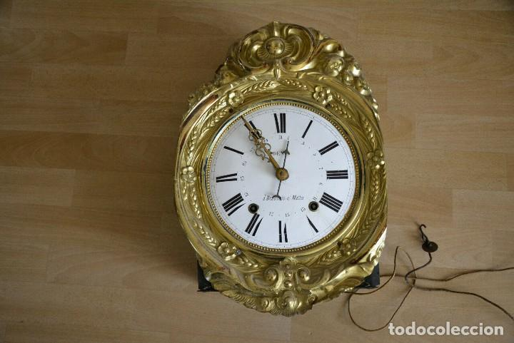 ANTIGUA MAQUINARIA MOREZ-CALENDARIO-AÑO 1880-FUNCIONA (Relojes - Pared Carga Manual)