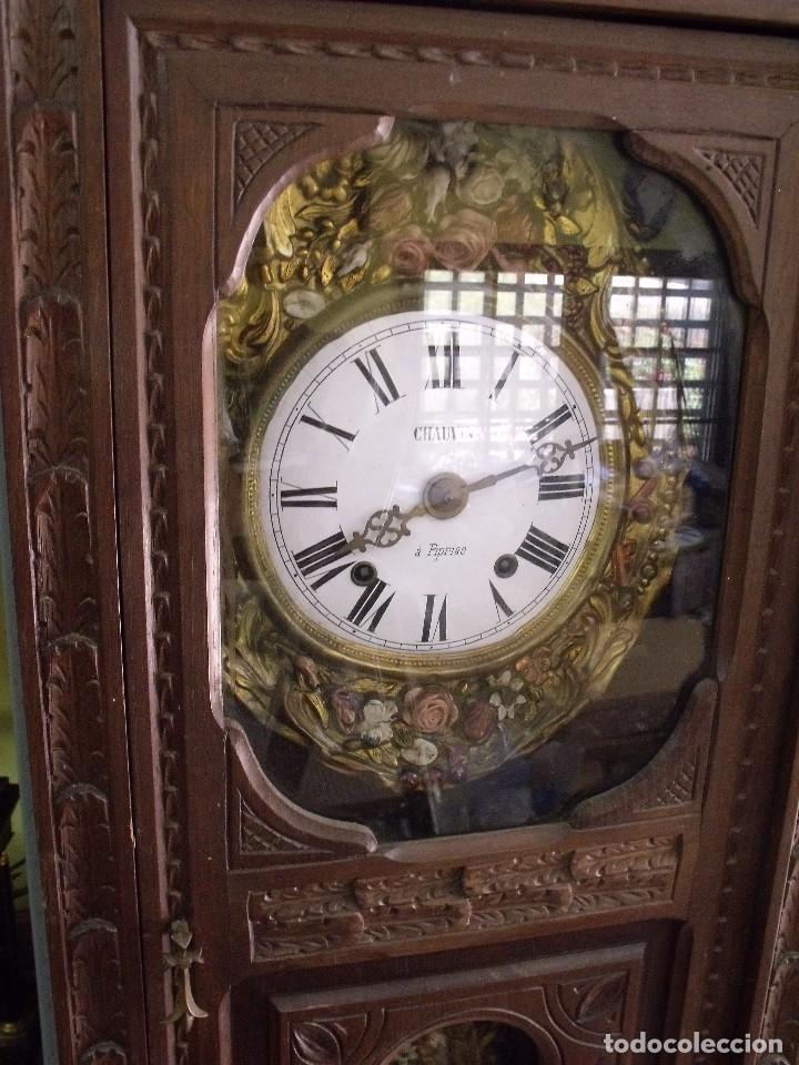 Relojes de pared: MAGNIFICO Y SEÑORIAL-RELOJ MOREZ PESAS-MUEBLE BRETON CON TALLAS-AÑO 1890-LOTE 313-FUNCIONA BIEN - Foto 4 - 276354833