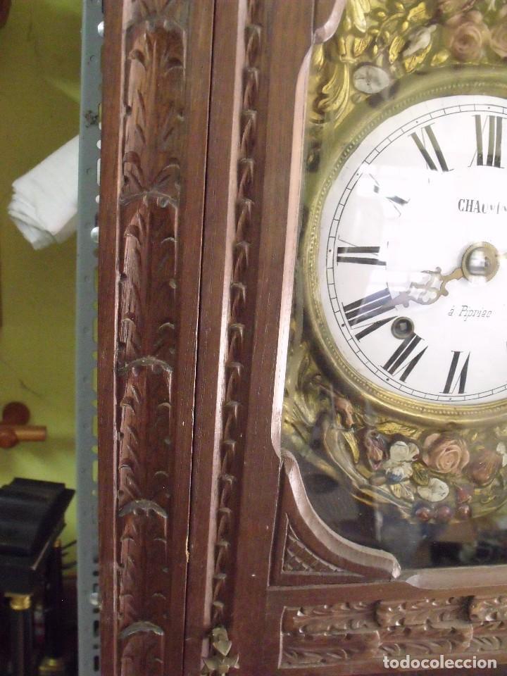 Relojes de pared: MAGNIFICO Y SEÑORIAL-RELOJ MOREZ PESAS-MUEBLE BRETON CON TALLAS-AÑO 1890-LOTE 313-FUNCIONA BIEN - Foto 6 - 276354833