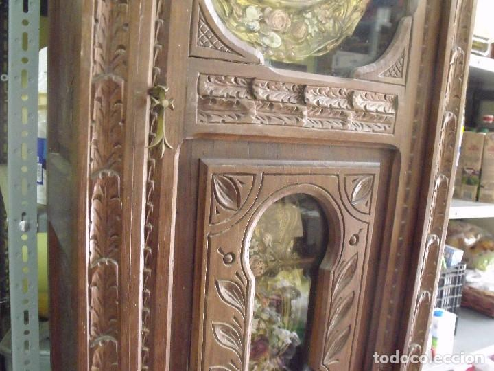 Relojes de pared: MAGNIFICO Y SEÑORIAL-RELOJ MOREZ PESAS-MUEBLE BRETON CON TALLAS-AÑO 1890-LOTE 313-FUNCIONA BIEN - Foto 8 - 276354833