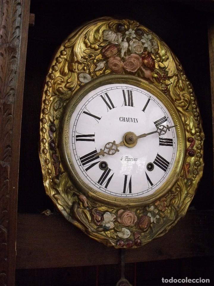 Relojes de pared: MAGNIFICO Y SEÑORIAL-RELOJ MOREZ PESAS-MUEBLE BRETON CON TALLAS-AÑO 1890-LOTE 313-FUNCIONA BIEN - Foto 11 - 276354833