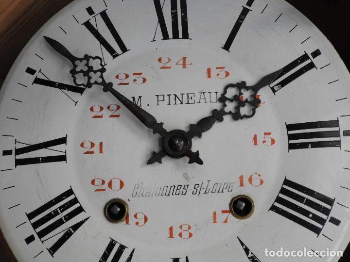 Relojes de pared: RELOJ DE PARED DE MADERA DE ROBLE RELOJERO M PINEAU - Foto 4 - 287560913