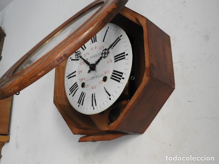 Relojes de pared: RELOJ DE PARED DE MADERA DE ROBLE RELOJERO M PINEAU - Foto 5 - 287560913
