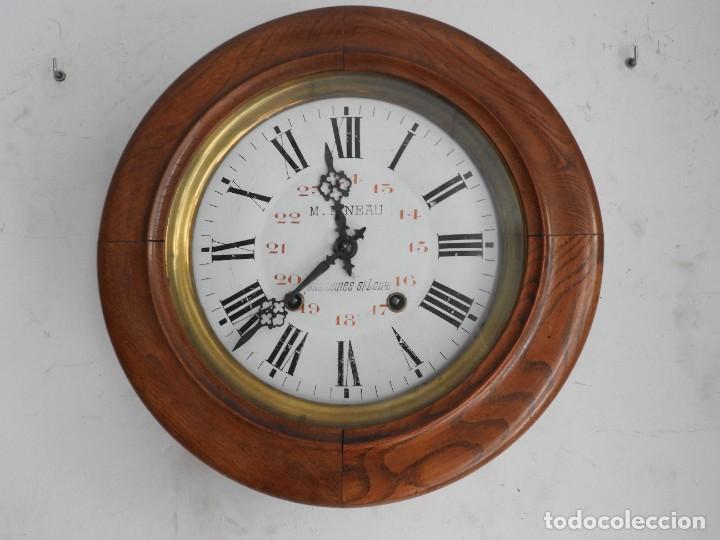 Relojes de pared: RELOJ DE PARED DE MADERA DE ROBLE RELOJERO M PINEAU - Foto 7 - 287560913