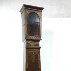 Relojes de pared: ANTIGUA CAJA DE RELOJ DE PIE - MADERA PINTADA AL ÓLEO - S. XIX. Lote 287815443