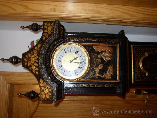 Relojes de pie: RELOJ DE PIE ESTILO INGLÉS CON DECORACIONES ORIENTALES EN RELIEVE. (VER FOTOS) - Foto 4 - 19051356