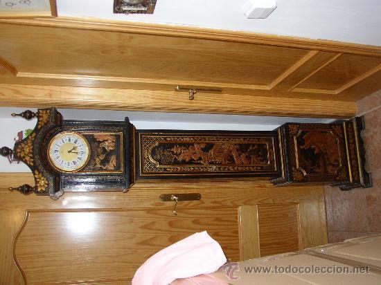 Relojes de pie: RELOJ DE PIE ESTILO INGLÉS CON DECORACIONES ORIENTALES EN RELIEVE. (VER FOTOS) - Foto 6 - 19051356