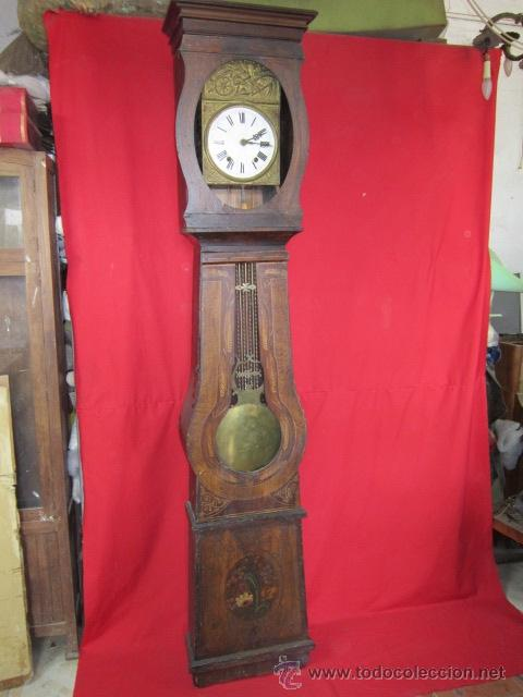 ANTIGUO RELOJ MOREZ CON CAJA DE MADERA ORIGINAL PINTADA, EN FUNCIONAMIENTO. (Relojes - Pie Carga Manual)