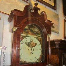 Relojes de pie: BONITO RELOJ INGLES - PINTADO A MANO Y CON CAJA EN CAOBA - S.XIX - FUNCIONA. Lote 52814798