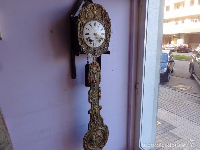 MUY ANTIGUO (SOBRE 1880) E IMPORTANTE RELOJ A PESAS MOREZ PENDULO REAL DE PINTURAS, COMPLTO Y FUNCIO (Relojes - Pie Carga Manual)