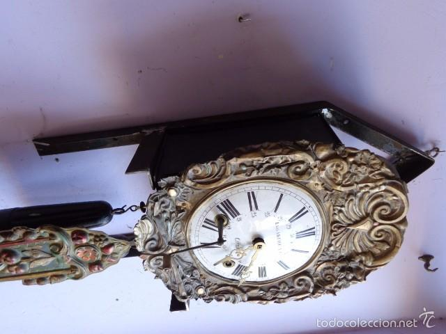 Relojes de pie: MUY ANTIGUO (SOBRE 1880) E IMPORTANTE RELOJ A PESAS MOREZ PENDULO REAL DE PINTURAS, COMPLTO Y FUNCIO - Foto 5 - 55921219