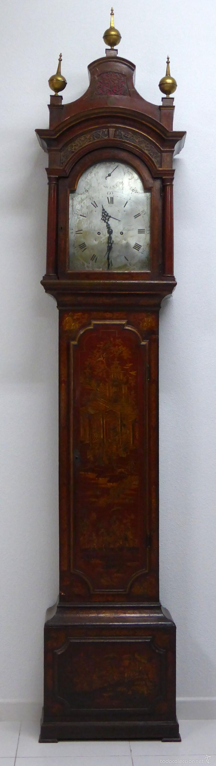 RELOJ PIE INGLÉS LACA JAPANNING CHINOSERIES S XVIII MAQUINARIA WILLIAM FIDGETT LONDON FUNCIONA (Relojes - Pie Carga Manual)