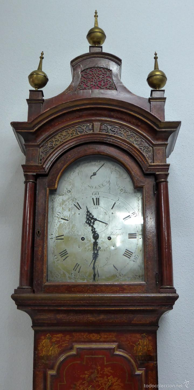 Relojes de pie: Reloj pie inglés laca japanning chinoseries S XVIII Maquinaria William Fidgett London Funciona - Foto 2 - 58294331