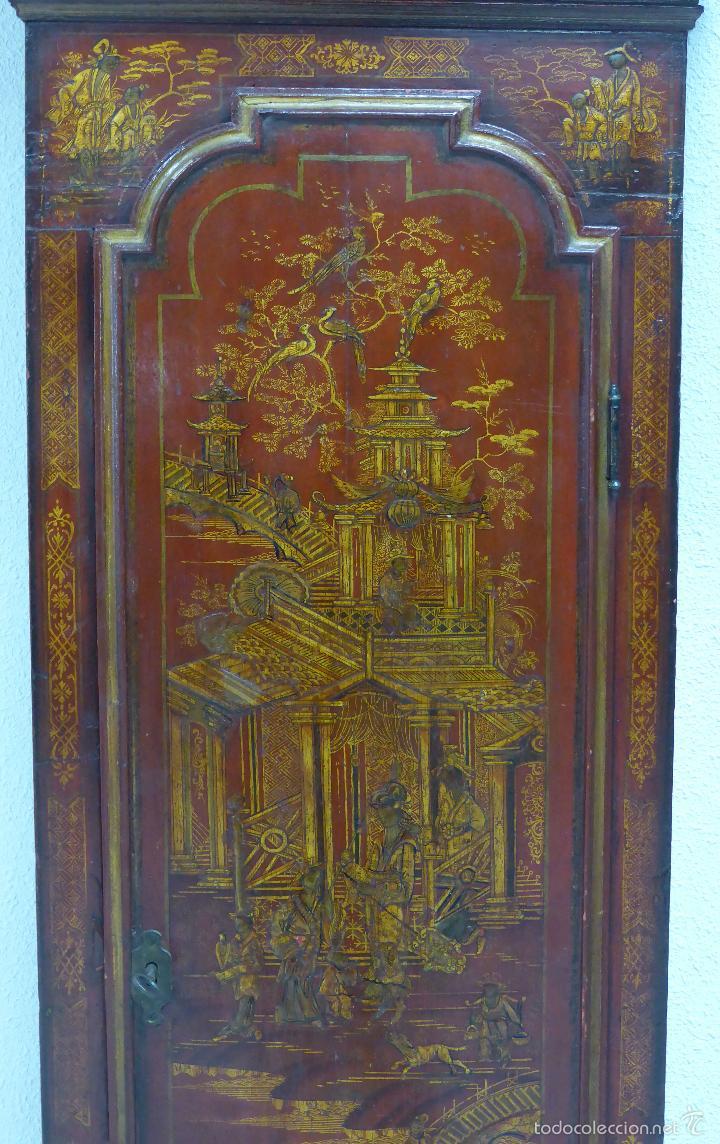 Relojes de pie: Reloj pie inglés laca japanning chinoseries S XVIII Maquinaria William Fidgett London Funciona - Foto 3 - 58294331