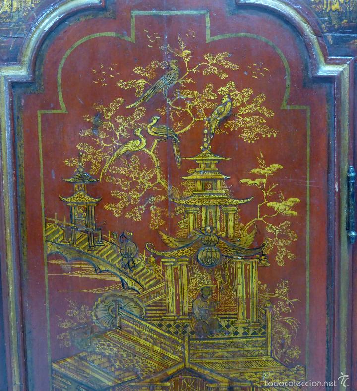 Relojes de pie: Reloj pie inglés laca japanning chinoseries S XVIII Maquinaria William Fidgett London Funciona - Foto 5 - 58294331