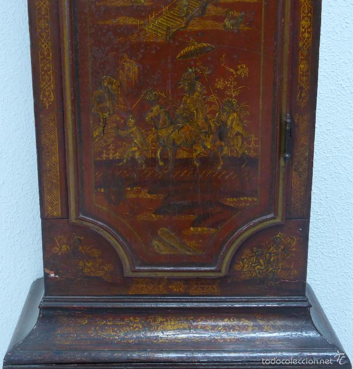 Relojes de pie: Reloj pie inglés laca japanning chinoseries S XVIII Maquinaria William Fidgett London Funciona - Foto 6 - 58294331