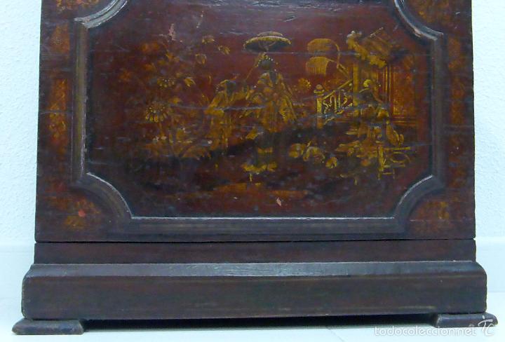 Relojes de pie: Reloj pie inglés laca japanning chinoseries S XVIII Maquinaria William Fidgett London Funciona - Foto 9 - 58294331