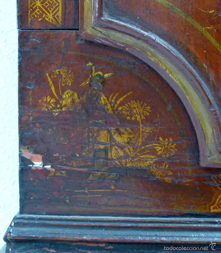 Relojes de pie: Reloj pie inglés laca japanning chinoseries S XVIII Maquinaria William Fidgett London Funciona - Foto 11 - 58294331