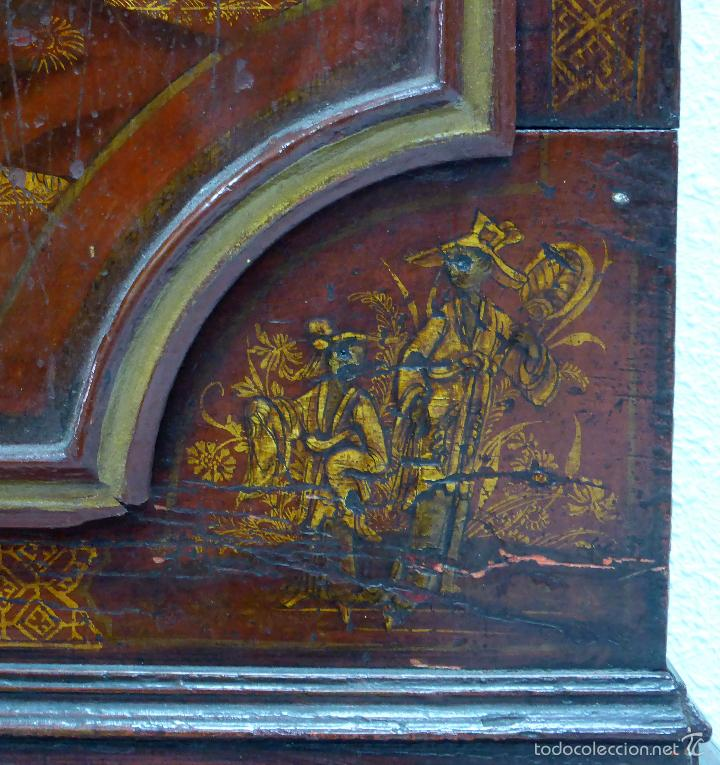 Relojes de pie: Reloj pie inglés laca japanning chinoseries S XVIII Maquinaria William Fidgett London Funciona - Foto 12 - 58294331