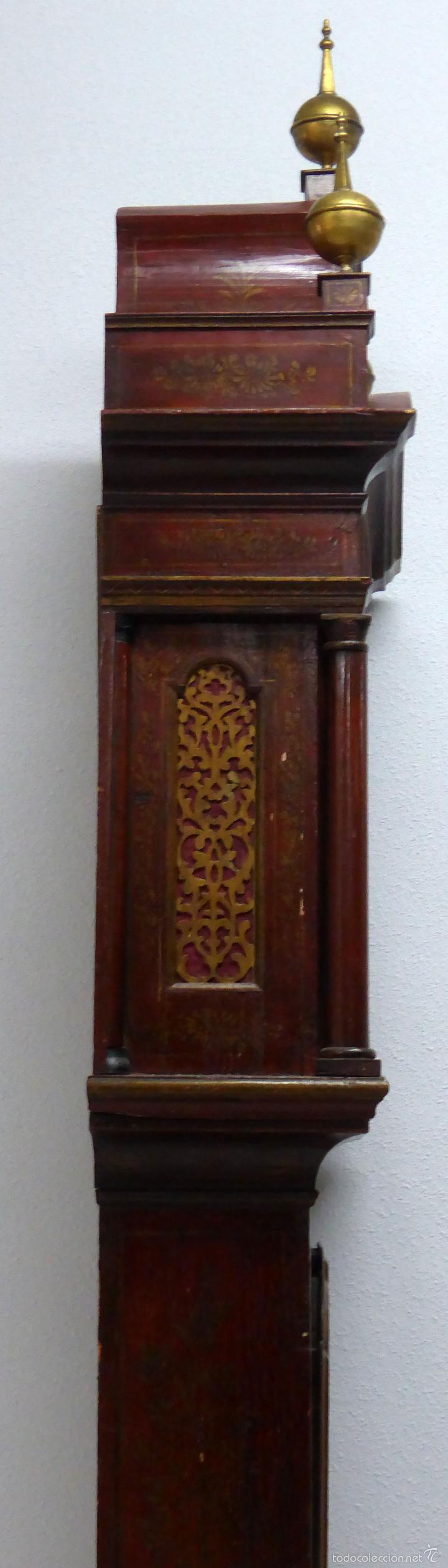 Relojes de pie: Reloj pie inglés laca japanning chinoseries S XVIII Maquinaria William Fidgett London Funciona - Foto 14 - 58294331