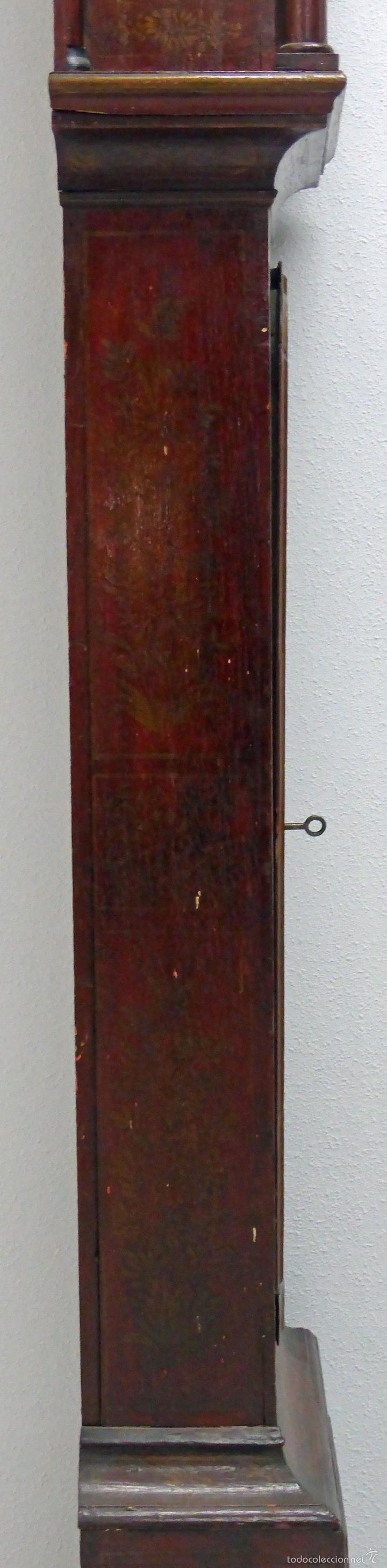 Relojes de pie: Reloj pie inglés laca japanning chinoseries S XVIII Maquinaria William Fidgett London Funciona - Foto 15 - 58294331