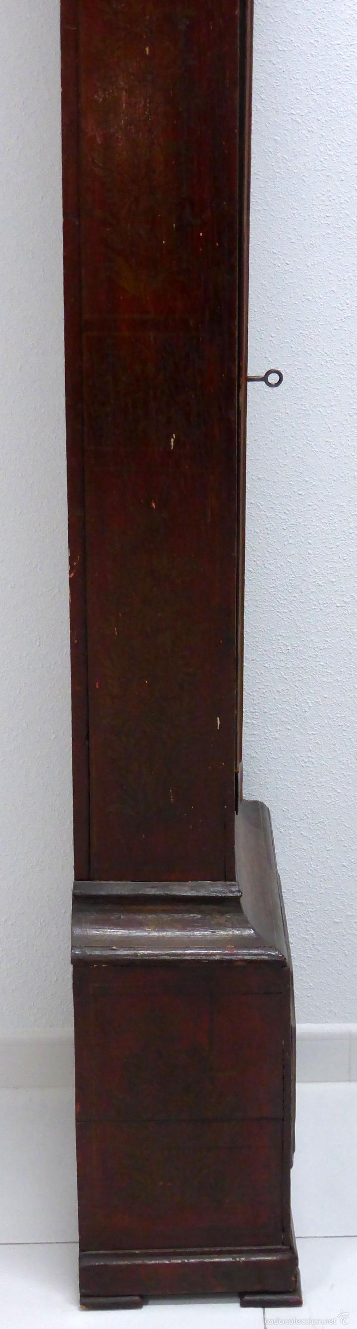 Relojes de pie: Reloj pie inglés laca japanning chinoseries S XVIII Maquinaria William Fidgett London Funciona - Foto 16 - 58294331