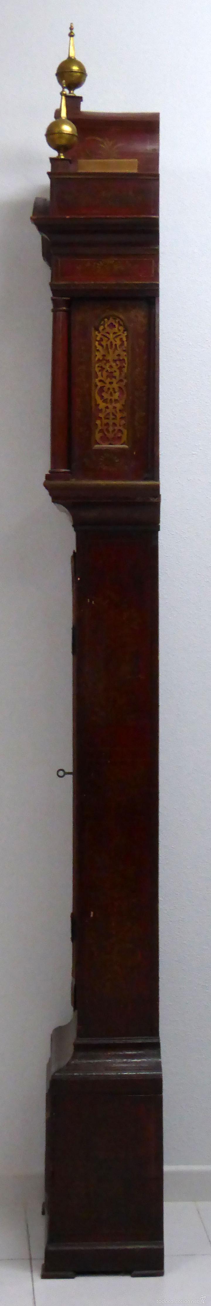 Relojes de pie: Reloj pie inglés laca japanning chinoseries S XVIII Maquinaria William Fidgett London Funciona - Foto 22 - 58294331