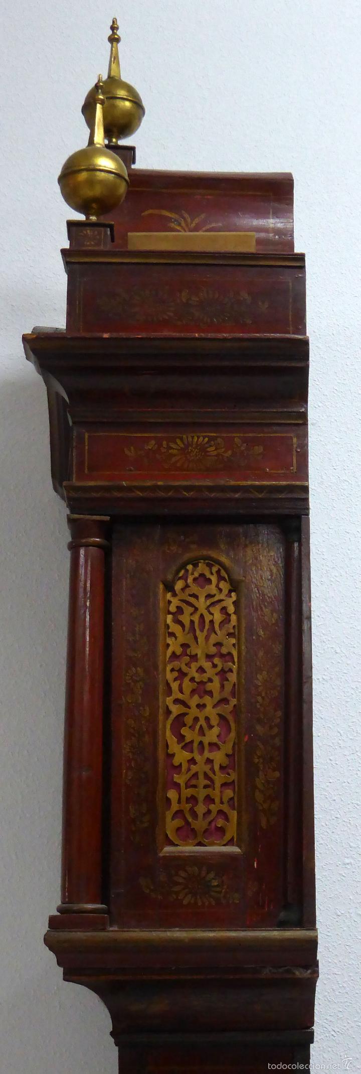 Relojes de pie: Reloj pie inglés laca japanning chinoseries S XVIII Maquinaria William Fidgett London Funciona - Foto 23 - 58294331