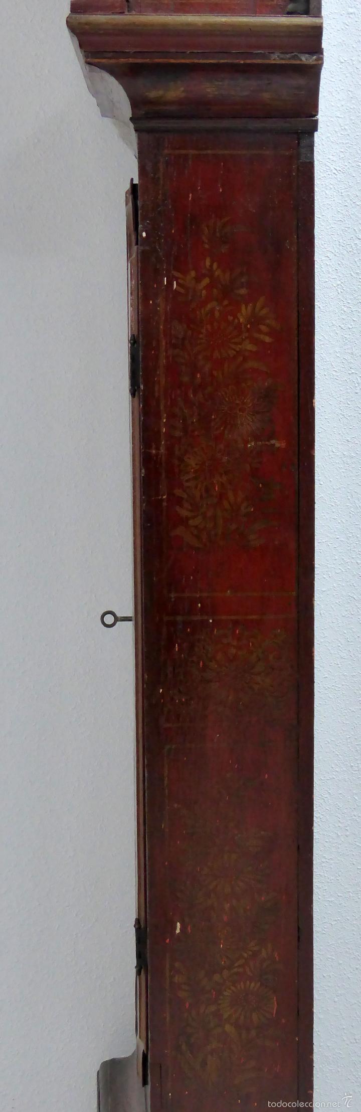 Relojes de pie: Reloj pie inglés laca japanning chinoseries S XVIII Maquinaria William Fidgett London Funciona - Foto 24 - 58294331