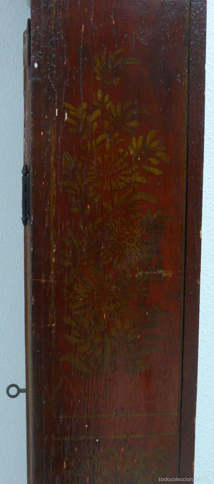 Relojes de pie: Reloj pie inglés laca japanning chinoseries S XVIII Maquinaria William Fidgett London Funciona - Foto 25 - 58294331
