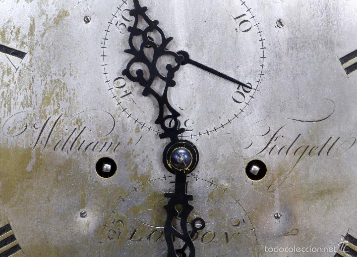 Relojes de pie: Reloj pie inglés laca japanning chinoseries S XVIII Maquinaria William Fidgett London Funciona - Foto 28 - 58294331
